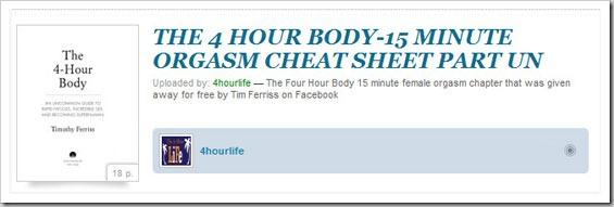 15 minute female orgasm part un Four Hour Body Cheat Sheets Tools, Tricks and Guides!