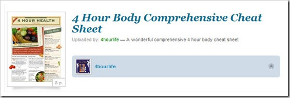 comprehensive cheat sheet Four Hour Body Cheat Sheets Tools, Tricks and Guides!