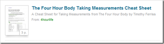 taking measuremetns Four Hour Body Cheat Sheets Tools, Tricks and Guides!