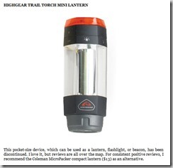 Highgear Trail Torch Mini Lantern thumb The Ultimate 80/20 Guide To The 4 Hour Chef: Tools, Tricks, Cheats, Summaries and Tables