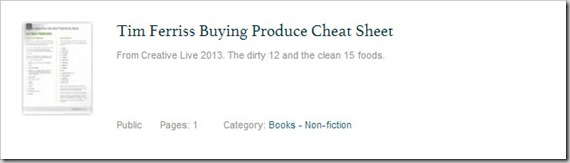 Tim Ferriss Produce Buying Cheat Sheet The Dirty Dozen thumb1 Four Hour Body Cheat Sheets Tools, Tricks and Guides!